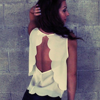 Open Back Scalloped Tank (Ivory)