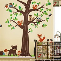 Woodland Forest Animal Friends Huge Tree Nursery by styleywalls