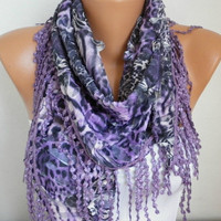 Purple Scarf  Leopard Scarf -  Cowl  Scarf with Lace Edge - fatwoman