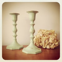 Pair of candlestick holders sea foam green shabby chic