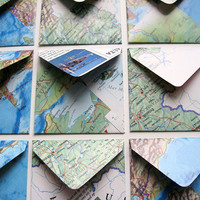 Mini Stationery Set: 12 Map Envelopes with 12 White Cards