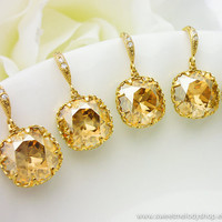 SET of 5 Wedding Bridesmaid Earrings Bridal Jewelry Champagne Gold Earrings Golden Shadow Swarovski Crystal Square Drops &amp; Cz Ear Wires