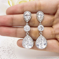 Bridesmaid Wedding Earrings Bridal Jewelry Clear White LUXE Cubic Zirconia Tear Drops Earrings with Cubic Zirconia Connectors