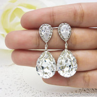 Wedding Bridesmaid Earrings Bridal Jewelry Bridesmaid Jewelry Clear White Swarovski Crystal Tear Drops with Cubic Zirconia