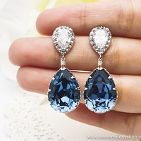 Wedding Bridesmaid Earrings Bridal Jewelry Bridesmaid Jewelry Denim Blue Swarovski Crystal Tear Drops with Cubic Zirconia Earrings