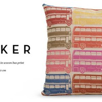 Decker Large Square Cushion in bus print | made.com