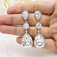 Wedding Bridesmaid Earrings Bridal Jewelry Bridesmaid Jewelry Clear White Swarovski Crystal Tear Drops with Cubic Zirconia Connectors
