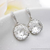 Wedding Bridesmaid Earrings Bridal Jewelry Clear White Swarovski Crystal Square Drops &amp; Cubic Zirconia Sterling Silver Ear Wires