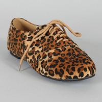 Oxy-3 Leopard Lace Up Oxford Flat