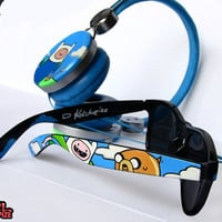 Adventure Time Headphones and Sunglasses SET - Cool headphones - Cool Wayfarer sunglasses - Finn and Jake