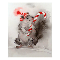 CIJ Squirrel Chipmunk Art Watercolor Kids Men Women Teens Candy Cane Kids Children Decor Woodland Creature Stripes grey & Red Under 25