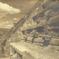 RPPC Teotihuacan Mexico Temple of Quetzalcoatl Vintage Postcard by Photographer Yanez