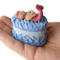 Sleeping Baby Mermaid on Jewelry or Ring Box in Polymer Clay