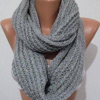 ON SALE UNISEX  Elegant and soft  Infinity Scarf  Circle Scarf   Knit Fall Scarf  Light gray