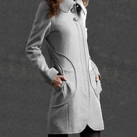 wool coat  women's gray winter jacket