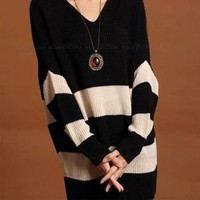 Black Lady Women Sweater Jumper Top Outwear Dress Knit V Neck Loose Stripes