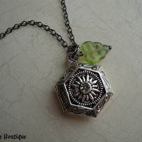 HERBOLOGY - Harry Potter Inspired Hexagon Locket in antiqued silver with swarovski crystal, czech glass and gunmetal