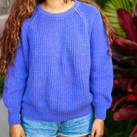 neon purple knit sweater