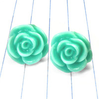 turquoise rose earrings - turquoise rose studs - turquoise - turquoise earrings - turquoise studs - turquoise jewelry - rose earrings - rose