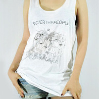 FOSTER The People Pumped Up Kicks Music Shirt Indie Rock Women Tank Top White Tunic Top Vest Women Sleeveless Singlet Women T-Shirt Size M