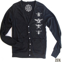 Unisex BEES TriBlend Black Cardigan  American by zenthreads