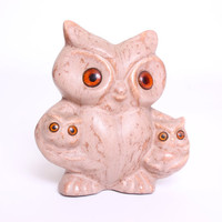 Vintage 1970s Adorable Mama Owls With Baby Owls