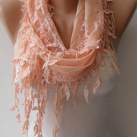 New - Salmon Lace Scarf  with Salmon Trim Edge