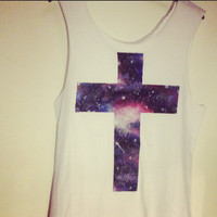 Galaxy Cross Hand Painted Crucifix Tee T-shirt Indie Tank Top