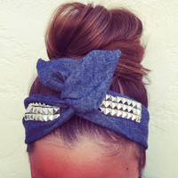 FREE SHIPPING -  Denim Studded Dolly Bow Headband