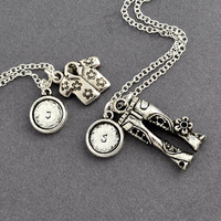 best friend necklace in silver, friendship necklace, bff, shirts & pants necklace, besties, couple necklace by jewelmint