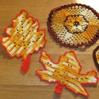 Set of 2 Fall Leaf Coasters - Oak Leaf and Maple Leaf - Filet Crochet