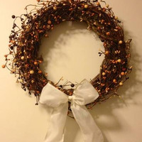 Wreath, Multi Pip Berry, 14 Inch, Burgundy, Cream and Mustard