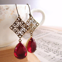 Ruby rhinestone earrings teardrop Victorian filigree