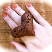 wooden big heart ring adjustable wood jewelry eco friendly