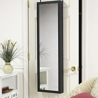 MIRROR JEWELRY ARMOIRE ORGANIZER OVER DOOR OR WALL HANG BLACK FREE SHIPPING