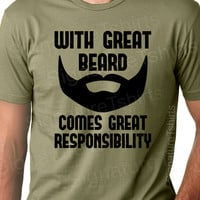 With Great Beard Mens Dad T-shirt tshirt Comes Great Responsibility Christmas gift Husband Anniversary father t shirt S-2xl