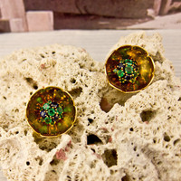 Gold Sapphire and Emerald Buttercup Earrings | Shop | Erstwhile Jewelry Co.