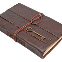 Large Brown Leather Journal with Tea Stained Pages