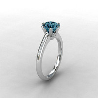 London Blue topaz ring, Diamond, white gold, engagement ring, solitaire, Topaz engagement, blue, London blue, diamond engagement,