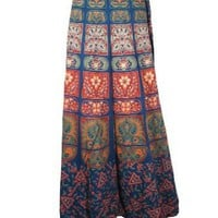 Amazon.com: Womens Indi Cotton Wrap Around Skirt Hippie Boho Blue Floral Print Fashionable Wrap Skirts: Clothing