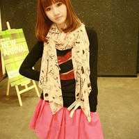 Cute High Heels Lip Sticks Pattern Long Chiffon Scarf wholesale