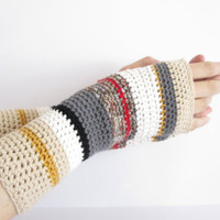 Fingerless Gloves for women. Long hand crocheted striped hand warmers.