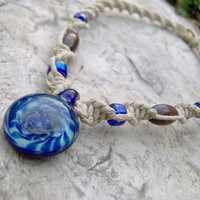 Hemp Necklace w/ Twisted Blue Glass Pendant  Hemp by KnottyanNice