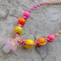 Pink Glass Mushroom Hemp Necklace  Hemp Jewelry by KnottyanNice