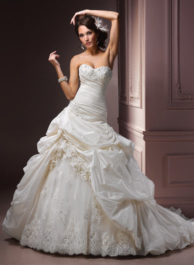 Ivory Gathered Taffeta Embellished Floral Strapless Sweetheart Decadence Wedding Gown - Unique Vintage - Bridesmaid & Wedding Dresses