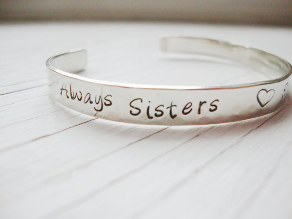 Always sisters, Forever Friends silver hammered cuff bracelet