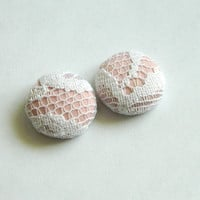 Button Earrings Light Pink- White Lace