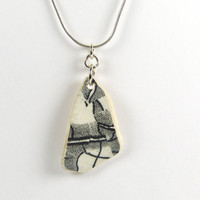 Beach Pottery Necklace Black and White