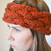 Rust Braided Cable Knit Headband, Made to Order, Fall headband, Knit Earwarmer