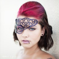 Vixen half mask in violet leather by TomBanwell on Etsy